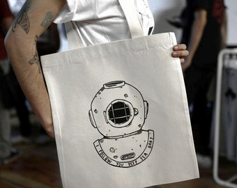 Tote Bag - Screenprint Over Cotton Canvas Tote Bag Scubadiving