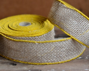 yellow trimmed rustic burlap ribbon