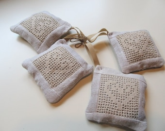 Burlap Linen Organic Lavender Drawer Sachets, Thank You Gift, Aromatherapy, Vintage Linen, Hearts, Set of 4, sach10