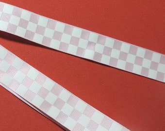 Pink and white checkerboard ribbon - 5 yards