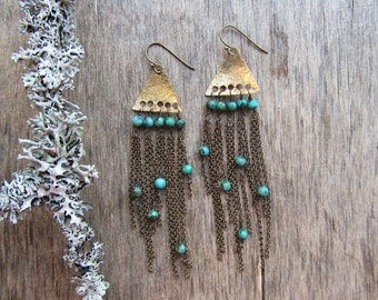 Long boho earrings Chain fringe earrings Long earrings Long chain earrings Turquoise earrings Boho chic earrings Boho jewelry Bohemian
