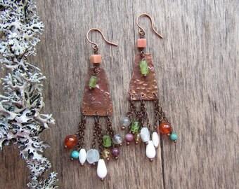 Long boho earrings Colorful earrings Long chandelier earrings Mixed stone earrings Long earrings Boho chic earrings Copper jewelry Bohemian