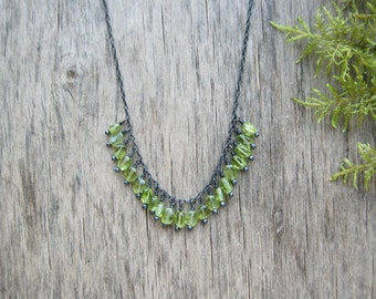 Peridot necklace Dainty gemstone necklace Delicate necklace Sterling silver necklace August birthstone jewelry Birthstone necklace