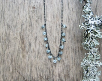 Aquamarine necklace Dainty gemstone necklace Delicate necklace Sterling silver necklace March birthstone jewelry Birthstone necklace
