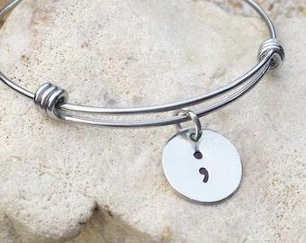 Jewelry - Bracelet - Bangle - Semicolon - Project Semicolon - Hand Stamped - suicide awareness