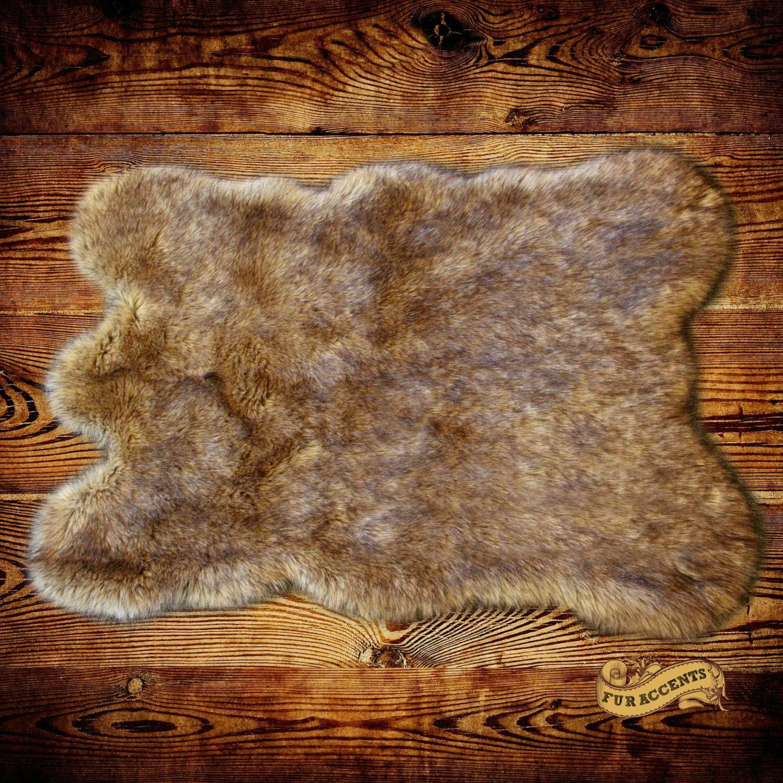 Fake Dog Skin Rug: Faux Wolf Skin Accent Rug / Coyote Pelt Area Carpet / Fake