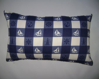 Nautical Plaid Lumbar Pillow Cover, 12''x20'' Nautical Pillow Cover, Decorative Lumbar Pillow Cover
