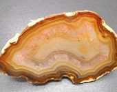 Brazilian Agate and Quartz Crystal Drawer Pull - Natural Decor, Stone Pull, Unique Drawer Pull, Natural Science, Agate Slice, Crystals