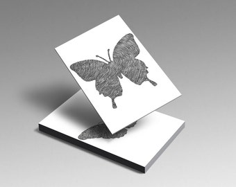 Set of Five Butterflies Illustrated Postcards