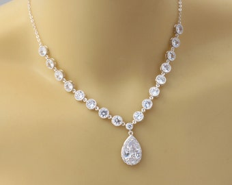 wedding necklace , cz bridal necklace , zirconia bridal necklace , drop bridal necklace