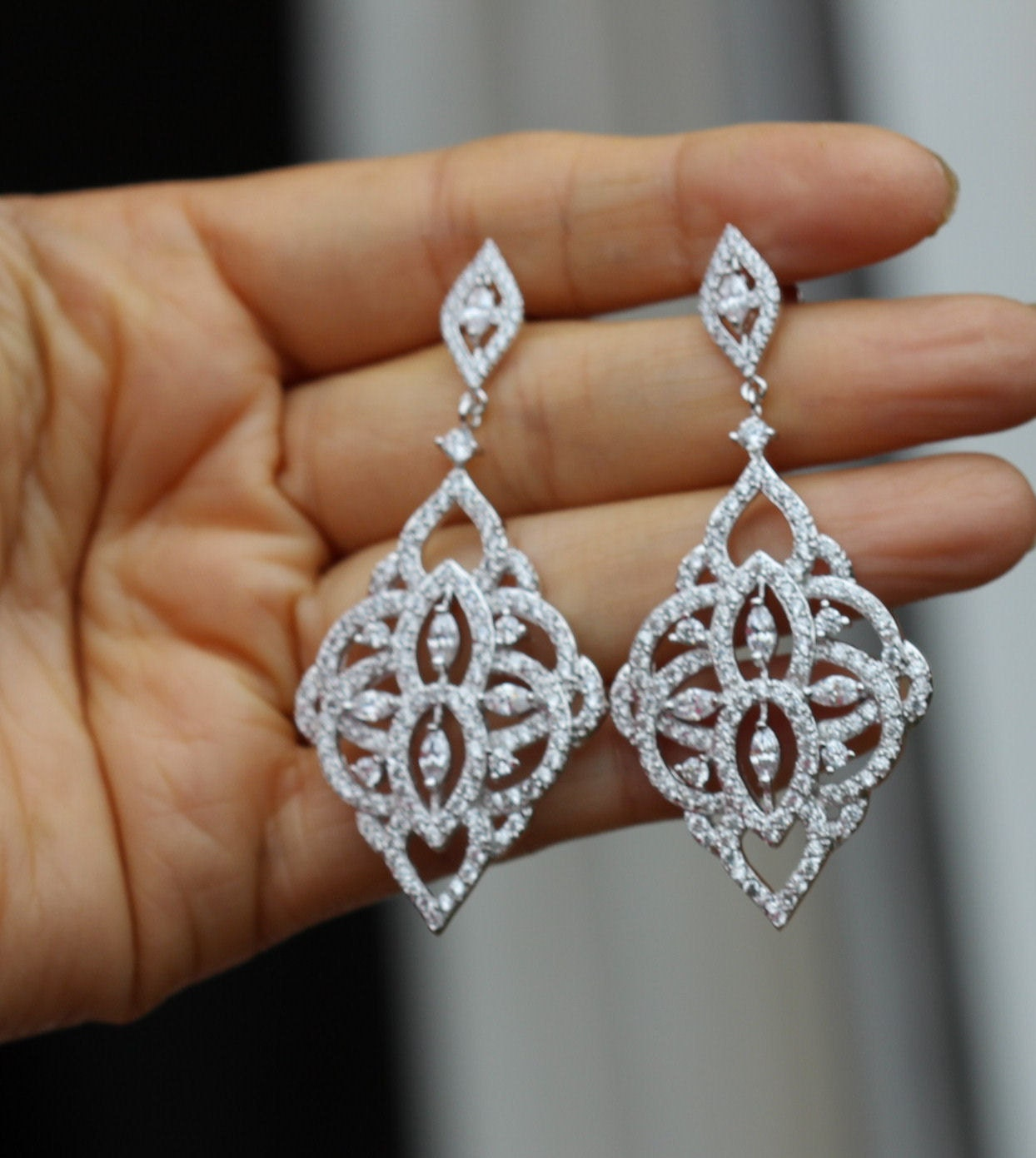 Crystalline Silvers: Silver Crystal Bridal Earring Bridal Jewelry Chandelier