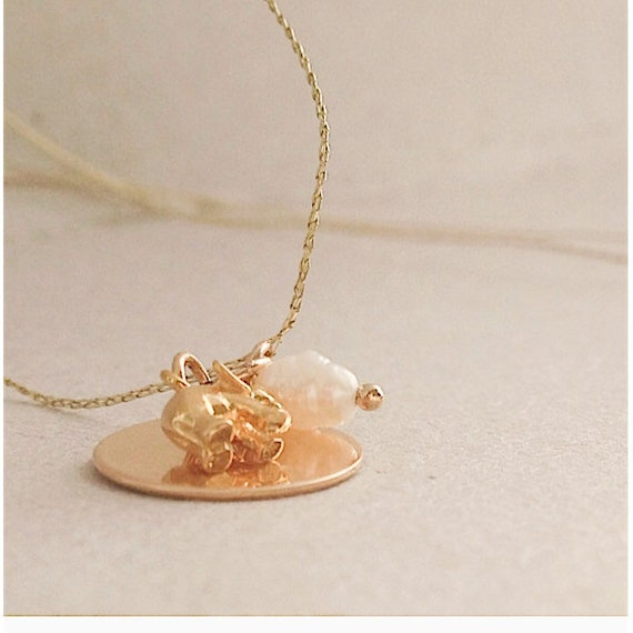 delicate gold filled luck charms necklace dainty