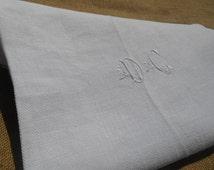 Victorian White Hemp Towel Long Rustic French Cloth Handmade Monogrammed 19th Century #sophieladydeparis