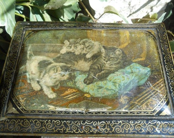 Victorian Cat Tin Box Footed French 1900's Multicolored Decor