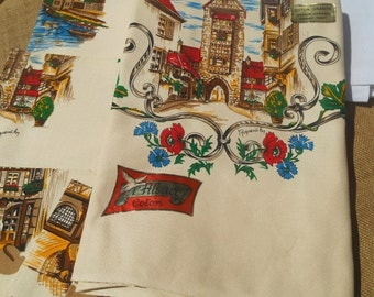 Timbered House Tablecloth 6 matching Napkins Beige Cotton Unused French Folk Tablecloth from Alsace #sophieladydeparis