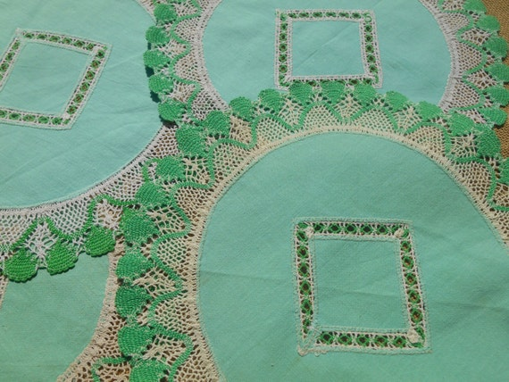 2 Victorian Green Doilies  French Cotton Handmade Round Shape Lace Scalloped Trim wih Cut Work Sewing Assemblage #sophieladydeparis