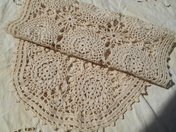 Long Beige Hand Crocheted Runner French Lace Table Center Cotton Handmade Sewing project  #sophieladydeparis