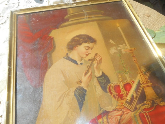 Victorian Religious Priest French Chromolithograph Framed #sophieladydeparis