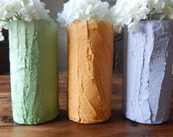 Handcrafted / colored cement / vase / set of three / cottage chic / home decor / limestone