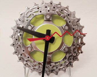 Bicycle Gear Clock - Lime Green - 4""