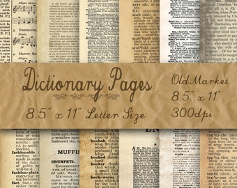 Blank Dictionary Pages Digital Paper - Old Paper Textures - 12 Designs - 8.5in x 11in - Commercial Use - INSTANT DOWNLOAD