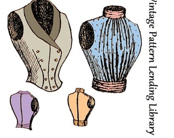 1897 Ladies Double Breasted & Full Vest - Reproduction Sewing Pattern #E0672