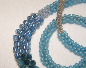 """Kumihimo beaded blue and white necklace 30"""" long - 0038"""