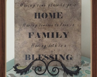 Home, Family, Blessing Vinyl Tile, Sign, Vinyl Quote, Decorative Tile Quotes,