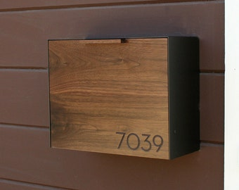 Modern Mailbox Large, Walnut and Stainless Steel Mailbox, Wall Mounted mailbox