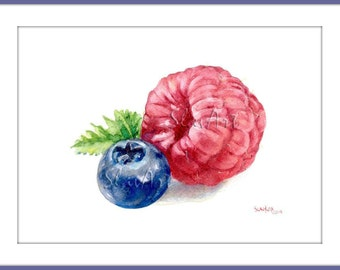 Fruit Art - Painting of Raspberry and Blueberry Still Life Food Print Watercolor Fine Art Home Decor Realistic Kitchen art
