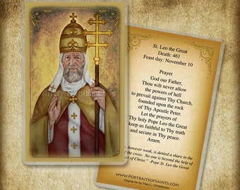 St. Leo the Great Holy Card or Wood Magnet  #0221