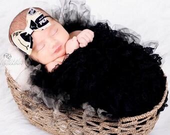 Baby Headband Photo Prop. Pittsburgh Penguins. 1/8th elastic headband. Size 0-6months.