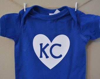 Baby bodysuit, KC baby, Kansas City baby, KC royals baby, blue, girl, boy, baby shower gift, glitter