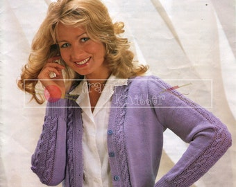"Lady's Cardigan 32-42"" 4-ply Sirdar 6223 Vintage Knitting Pattern PDF instant download"