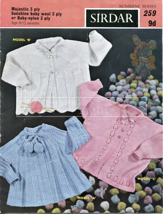 Baby Matinee Coats 9-12 months 3-ply Sirdar 259 Vintage Knitting Pattern PDF instant download