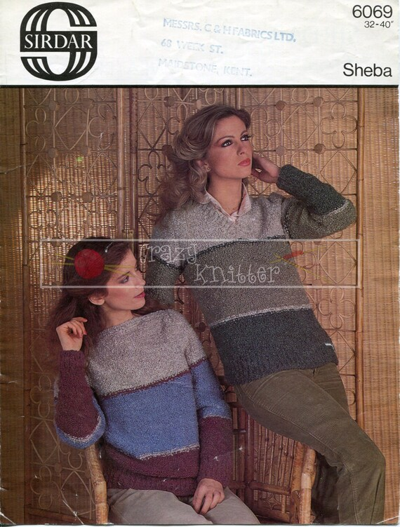 "Lady's Sweaters 32-40"" Chunky Sirdar 6069 Vintage Knitting Pattern PDF instant download"
