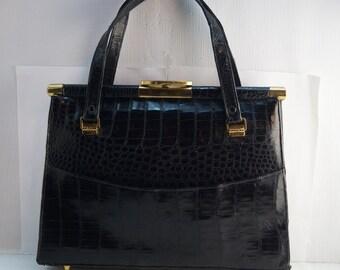 60s Modern Black Croc Crocodile Alligator Leather Brass Hardware Purse Bag