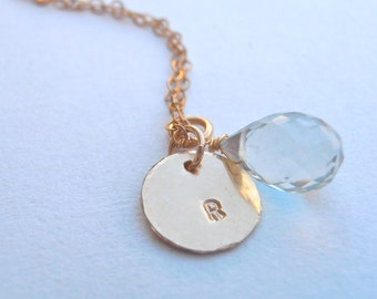 Initial Gold Necklace - Blue Aqua Briolette - Gemstone Necklace - Hammered Round Disc, Personalized Gold Necklace. Gemstone Jewelry