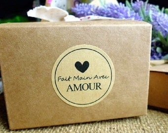 "Fait main Avec Amour (""handmade with love"") Kraft Seal Sticker / Label , Gifts"