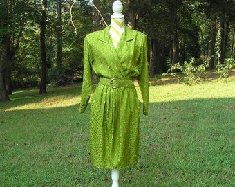 1970, 1980s Vintage Maggy London by Jeannene Booher Silk Dress, Bright Olive Green Print, Size 10, Wrap Bodice, Self Belt, Vintage Clothing