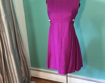 1960s/ 1970's Mod Purple Pinafore Mini Dress w/ Rhinestone Buttons