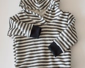 Soft black white striped terry knit sweatshirt