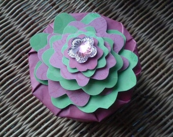 Box Round Paper Recycled Pink Green One of a Kind Trinket Gift Box Office Desk Flower Jewelry