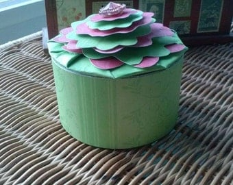Box Round Paper Recycled Trinkets Jewelry Office Desk Flower One of a Kind Gift Box