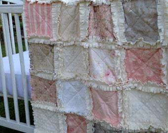Baby Quilt,  Baby Girl, Pink Taupe Beige Roses Crib Rag Quilt Ivory Shabby Chic Baby Quilt Crib Bedding Eyelet Baby Quilt