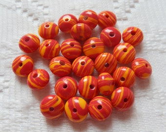 26  Red & Goldenrod Yellow Turkey Turquoise Striped Rondelle Beads  8mm x 6mm