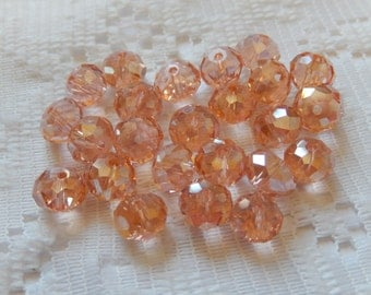 24  Peachy Pink AB Faceted Rondelle Crystal Beads  8mm x 6mm