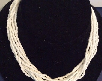 White beaded necklace 18 in