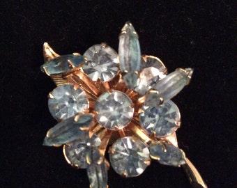 Blue rhinestone brooch 2 in