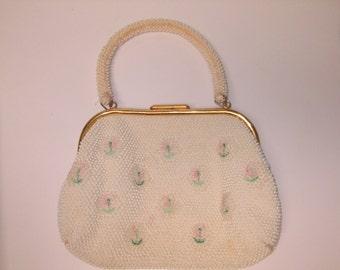Vintage 1940's Embroidered Lumured Cordé Bead Handbag